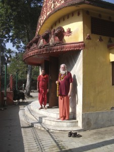 Ayyappa and Priest outside Bhairavi Temple